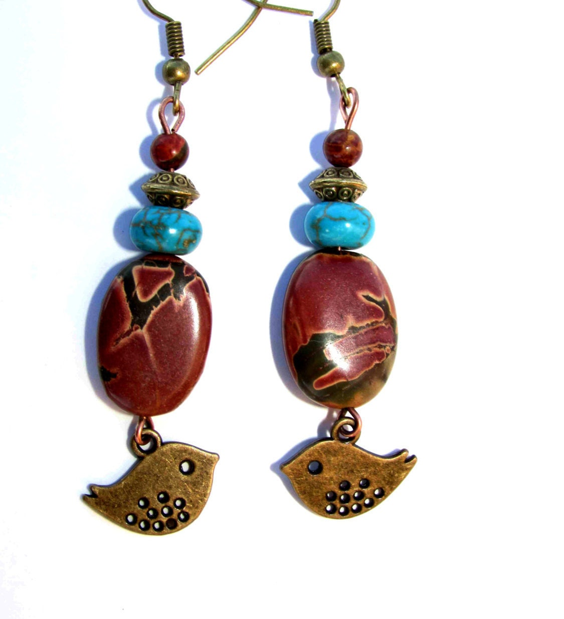 boho earrings turquoise earrings dangle by vickyscreationsetsy. Black Bedroom Furniture Sets. Home Design Ideas