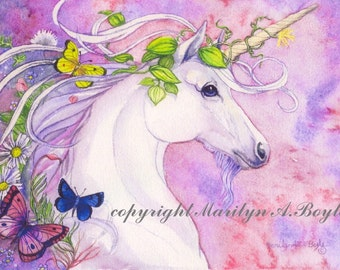 PRINT - FANTASY- UNICORN; art, spring, flowers, butterflies, nature, pink and mauve color