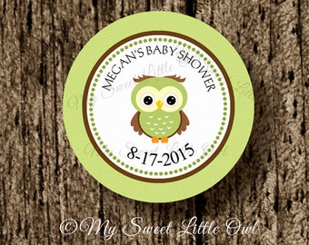 Green Owl cupcake topper - owl birthday party - Owl baby shower - Owl sticker -  green owl printable - Owl tag