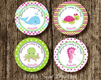Under the sea label - Under the sea Cupcake Topper - turtle Tags - under sea girl birthday - under sea baby shower - under sea printable