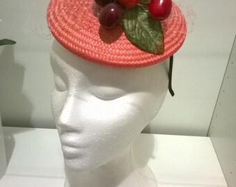Coral Buntal Pillbox with Cherries, Buntal Fascinator, Buntal Pillbox, Buntal Headpiece, Coral Headpiece, Womens Accessories, Wedding