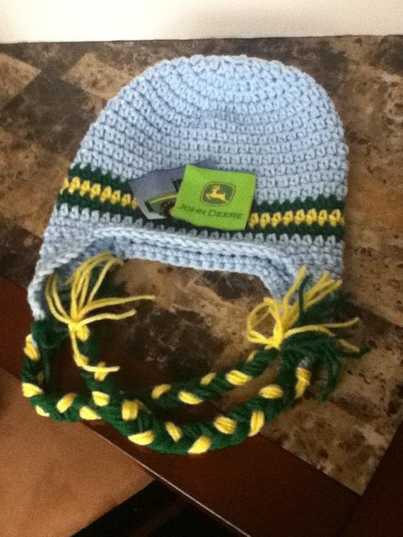 Deere Infant Hat Crochet Pattern : Crochet Blue John Deere Cap/Hat by YardAndThread on Etsy