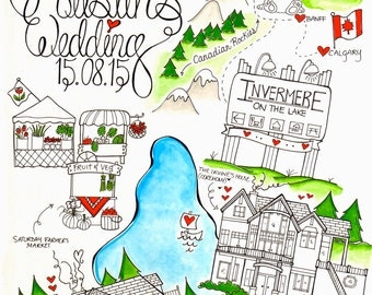 Wedding Map/ Save the Date/ Destination Wedding Invitation