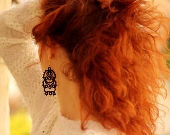 Black lace tatted earrings//Tatting lace//Frivolite earrings//Lace jewelry//Tatted jewelry//Art nouveau earrings