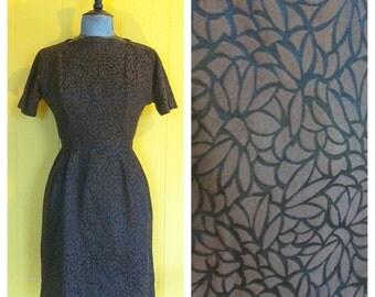Vintage 60s brown Sheath Dress size 4/6