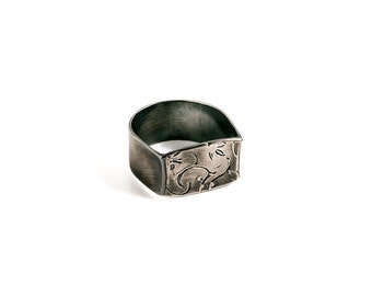 Leaf Ring, Sterling Silver Leaf ring, Oxidized Silver Ring.