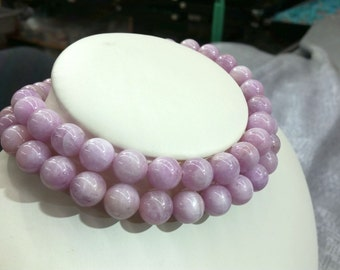 "A Kunzite Round Beads Smooth16""L Natural Purple-ish Color Stone"