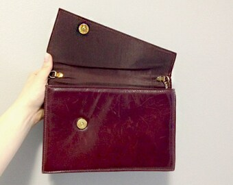 Red Wine Leather Envelope Purse