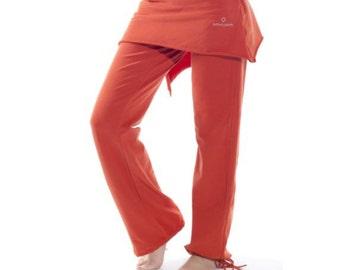 Skirted Leggings, Skirted Pants, Yoga Skirt, Womens Pants, Yoga Bottom, Organic Pants, Red Womens Pants, Skirted Capris, Conscious Clothing
