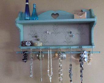 Cottage style,up-cycled jewelry display and storage Shelf