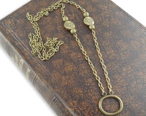 Eyeglasses Ring Lanyard - Antique Bronze Chain and Loop Holder for Glasses, Necklace Style Reader Keeper, Clasp Optional