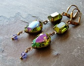Swarovski Olivine and Violet Jeweled Earrings - Vintage Austrian Crystal and Antique Brass Drops