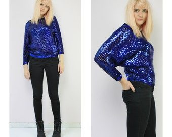Blue Sequin Vintage Disco Top