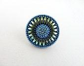 Czech Glass Button - 32mm Blue and Gold Sunflower Hand Painted Czech Glass Button BUT0011