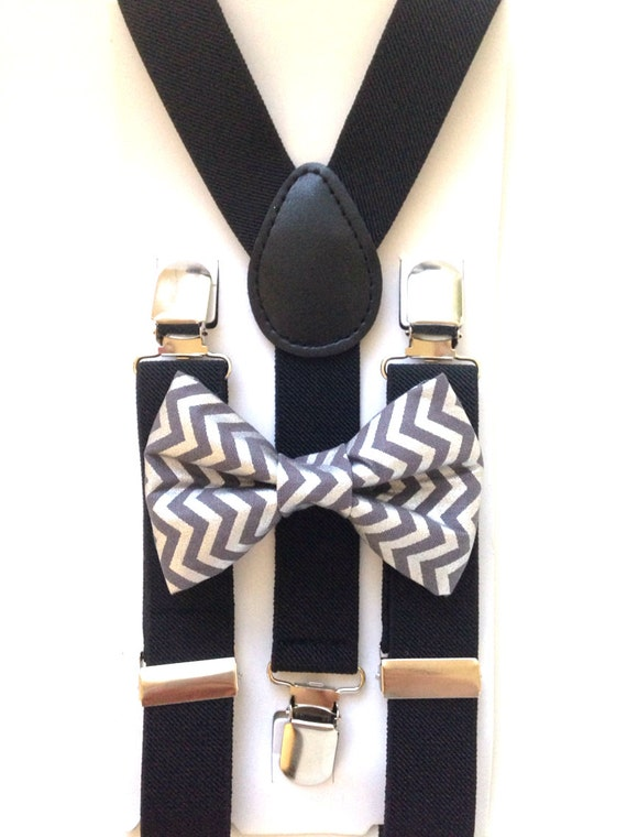 Black Suspenders and Gray Chevron Bow Tie