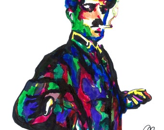 """Charlie Chaplin, Comedian, Comedy, Silent Film Actor, Filmmaker, POSTER from Original Drawing 18"""" x 24"""" Signed/Dated by Artist w/COA"""
