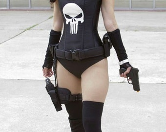 Punisher custom made to measure corset and pants and finger less gloves