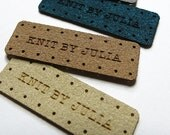 50 - .5 x 1.5 Custom Kniting Tags - Ultrasuede - Ultrasuede Knitting Tags