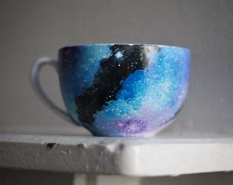 Hand Painted Galaxy Mug: Galaxy Cappuccino Mug, Coffee Cup, Soup Bowl