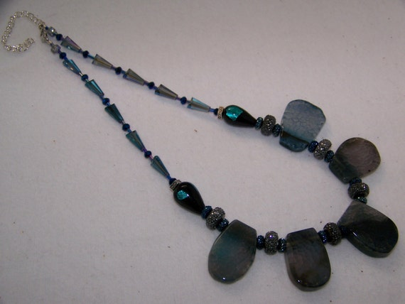 natural jewelry,Crackle Agate Necklace, Semiprecious Stone Necklace,beaded jewelry, #39