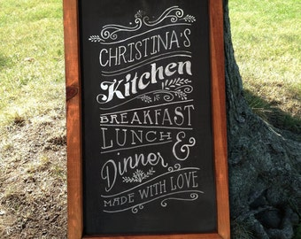 Personalized Rustic Framed Kitchen Chalkboard Home Decor