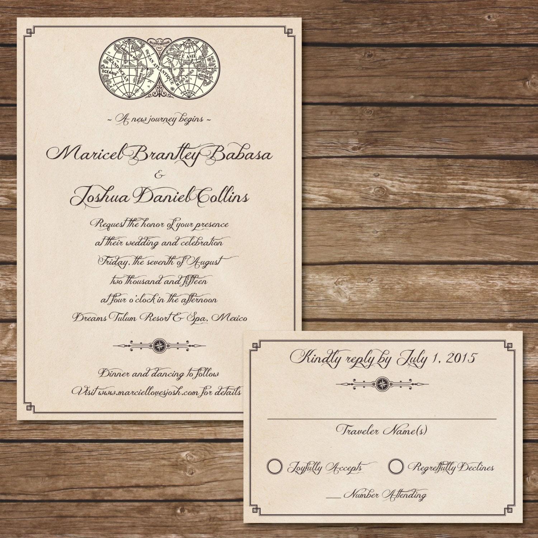 Printable Travel Wedding Invitation With RSVP Card Digital