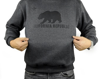 California Republic Bear Crewneck Sweatshirt CALI Golden State Heather Charcoal
