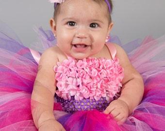 Flower girl dress - tutu dress - tulle dress - Purple pink Tutu Dress - infant/Toddler Dress - Pageant dress - Princess dress - Dance- Pink