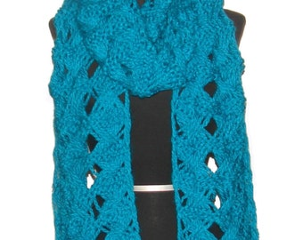 Womens Handmade Extra Long Teal Knitted Scarf