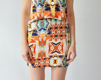 Print jersey mini skirt