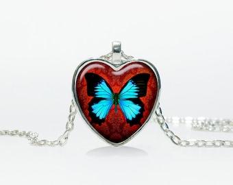 Butterfly pendant Butterfly Heart necklace Heart jewelry  Heart shape Christmas gift