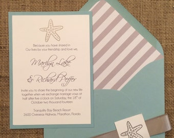 Starfish Beach Wedding Invitation, Modern, Simple & Elegant
