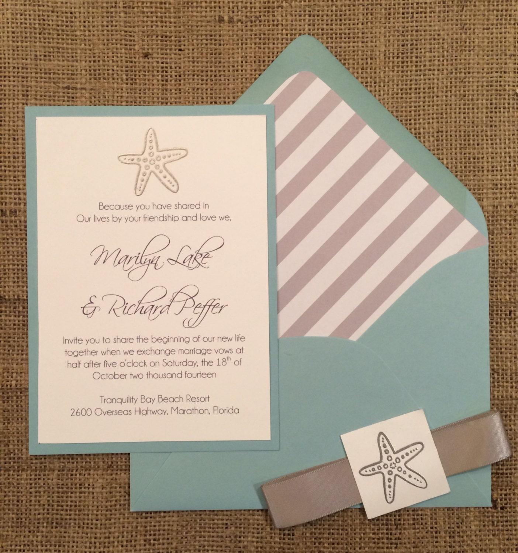 Etsy Beach Wedding Invitations: Starfish Beach Wedding Invitation Modern Simple & Elegant