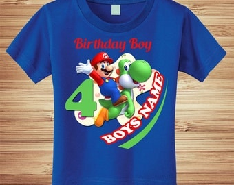 Super Mario Brothers and Yoshi Birthday T Shirt Personalized - nintendo wii video game