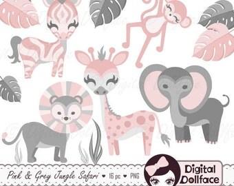 Pink Jungle Baby Shower Clip Art, Zoo Animals, Baby Safari Clipart, Monkey, Giraffe, Zebra, Lion and Elephant