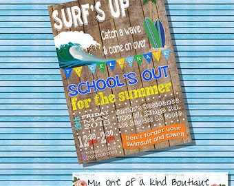 Surf's Up party invitation school out pool party invite surfboard party summer wood graduation surf board digital printable invitation 13502