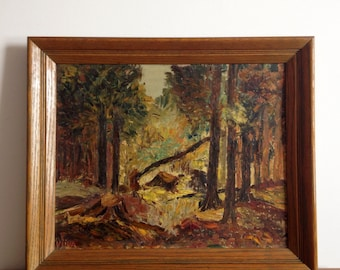 Mid Century Original Oil Painting - Forestscape