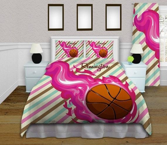 Girls Basketball Duvet Cover, Teen Bedding, Popular Duvet Sets, Pink ...