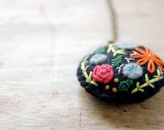 Embroidered Necklace, Flower Embroidery, Botanical Necklace, Embroidered Pendant