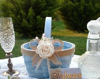 Flowergirl basket, Rustic flower basket, Choose your color