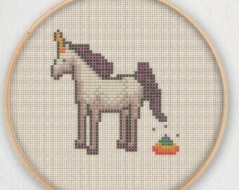 Unicorn Poop Cross Stitch Pattern - Instant Download PDF