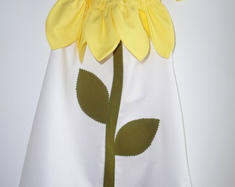 Girls flower dress - flower petal dress - baby dress - girls summer dress - girls white dress - toddler dress - yellow petals - baby clothes