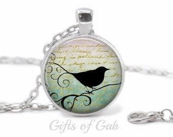 Custom Handmade Vintage Bird Silver Necklace Vintage Jewelry Vintage Necklace Bird Necklace