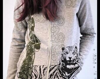 Slim Fit Zip-up Hoodie, Side Pockets, Screen-print Mechanism  & Tiger OR Octopus OR logo MOK