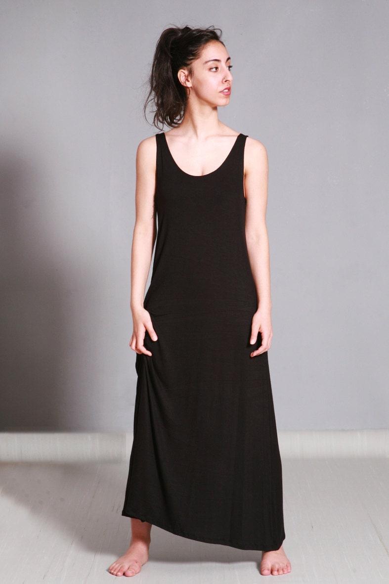 Long Black Summer Dress Cotton Jersey Sleeveless Maxi Dress