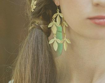 Gold Wedding Earrings Wedding Jewelry Gold Bridal Earrings Bridal Jewelry Bridesmaids Earrings Gold Statement Earrings Long Gold Earrings