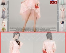 Light Pink Lace Dress - Hi lo Hem Dress - Lace Bridesmaid Dress - Prom Dress - Cocktail Dress - Evening Dress with Layered Skirt N91