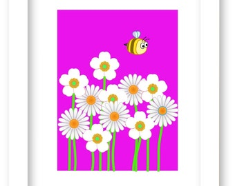 Kids Art - Nursery Decor - Printable Art - Girls Room Decor - Bumblebee - Flowers