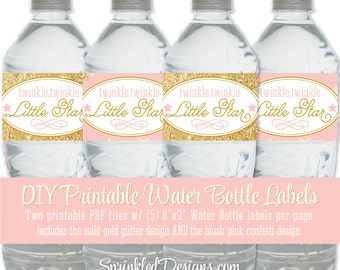 Twinkle Little Star Printable Water Bottle Labels - Drink Wraps Wrappers, Blush Pink Gold Glitter Gender Reveal, Baby Shower, Girl Birthday