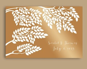 Wedding Guest book Alternative / Wedding tree guest book / Unique guestbook / Wedding sign in tree / Wedding gift ideas / Gold guest book
